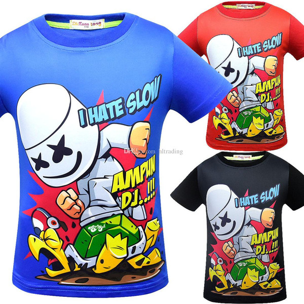 DJ Marshmello print T-shirts 2019 summer baby shirt Tops cartoon children Tees 9 styles fashion product Kids Clothing C6201