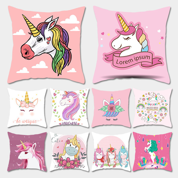 45*45cm Unicorn Pillow Case Decoration Home Sofa Cushion Cover Throw Pillow for Couch Cover for Sofa Chair Polyster