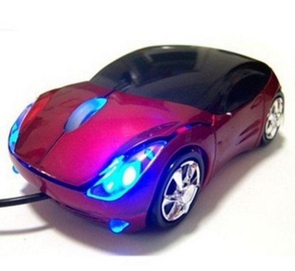 200 pcs 1600 DPI Mini Car forma USB optical wired mouse inovador 2 faróis do mouse para computador desktop laptop camundongos