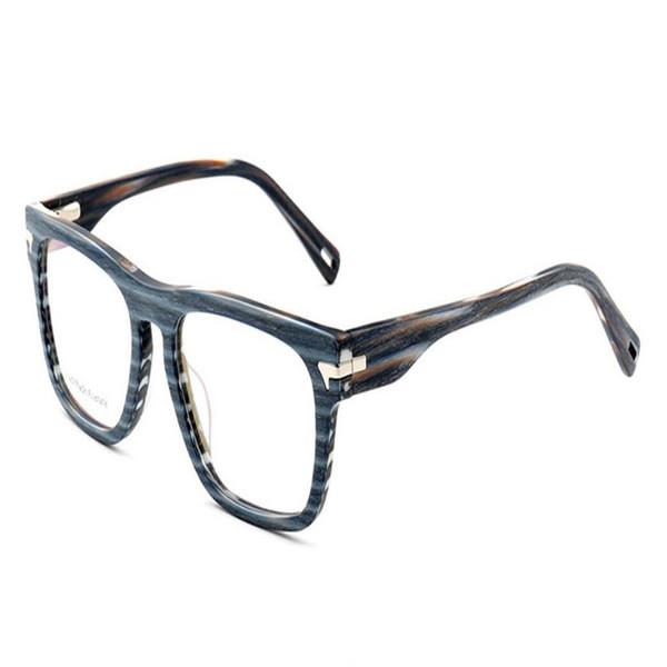 MONGOTEN Retro Unisex Fashion Full Rim Acetate Myopia Eyeglasses Frame Blue Brand Design Clear Lens Optical Goggle Eyewear Frame