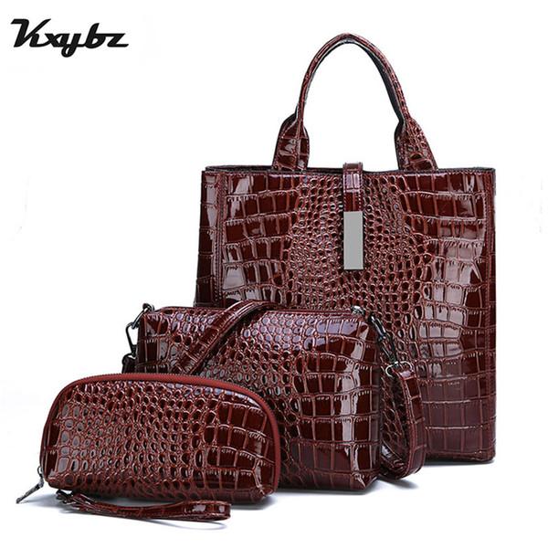 Kxybz 3 Sets Women Handbags Luxury High Quality Patent Leather Alligator Tote Bag Ladies Shoulder Crossbody Bag Women Clutch Bag Y190619