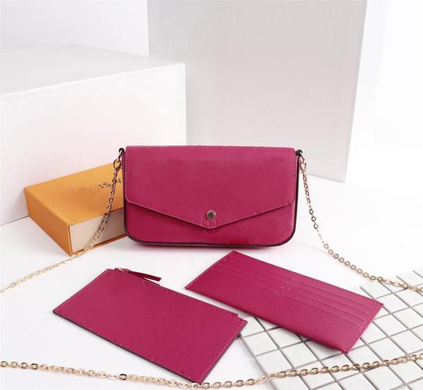 Brand classic fashion ladies mini POCHETTE bag mono flower/epi three piece set women leather shoulder bags crossbody clutch pouch wallets