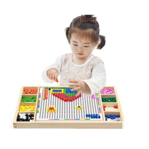 top popular montessori educational wooden toys for children girls boys kids 3-5-6-8 years old Mushroom nail combination spell board toy 2021