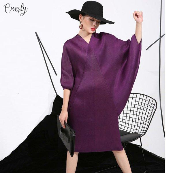 2019 Spring Trendy Dress New Crimp Bat Design Big Women Loose Large Size Solid Color Size Fashion Fu11191