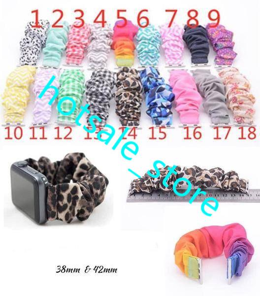 best selling Leopard Scrunchie watchband leopard solid color  stripe apple scrunchie watch band cloth fashion wrist band 18 Colors 2019 Newest