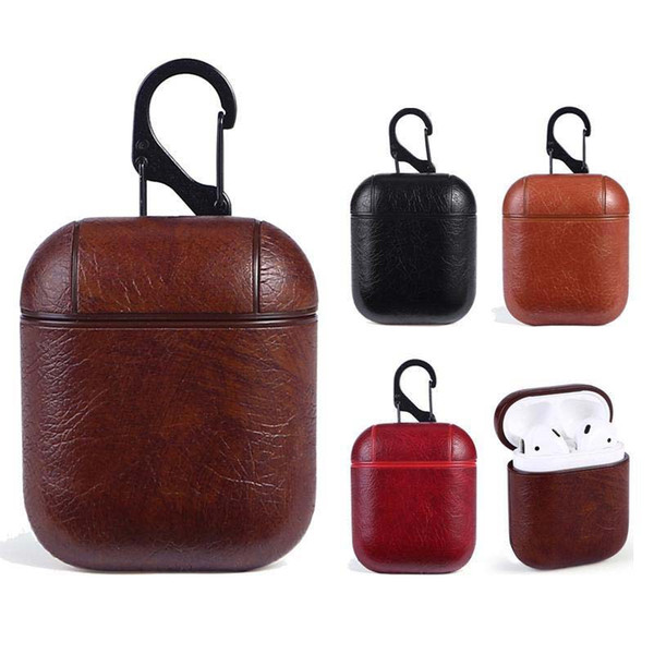 Luxury PU Leather For Airpods Cases Protective Cover Hook Clasp Keychain Anti Lost Fashion Earphone Case Protector