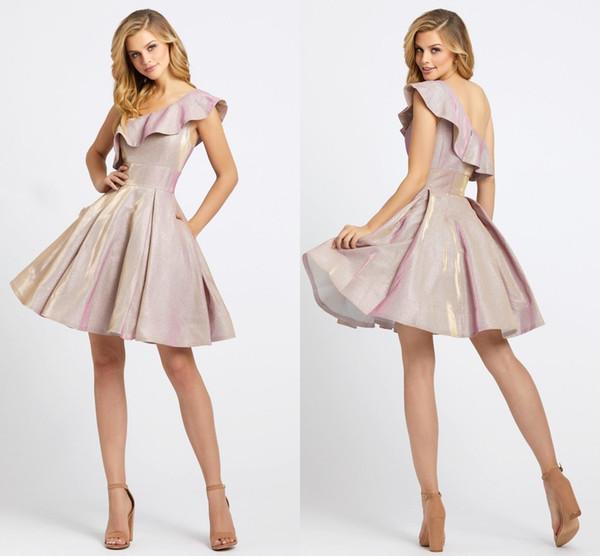Sparkly Dusty Pink Sequin Fabric Hasta la rodilla Vestido de fiesta de graduación Barato Un hombro con bolsillos Una línea Vestido de cóctel de graduación de fiesta