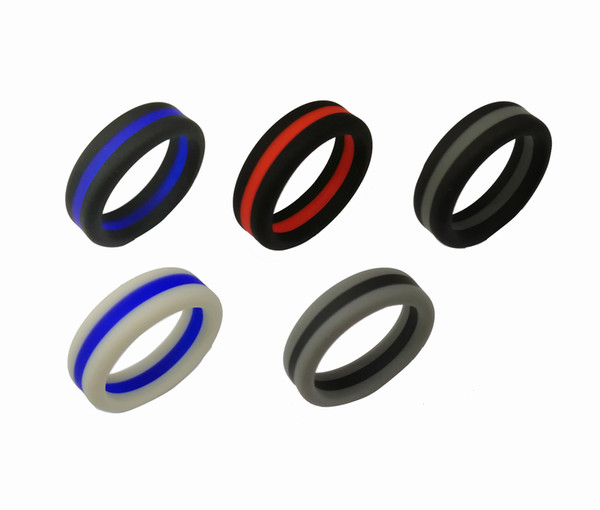 top popular Fashion women's Two Tone Silicone Rings Three layers Tire Design Silicone Rubber Flexible Ring For Ladies Fashion Wedding Engagement Jewelry 2020