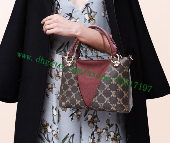 Haut Grade cuir véritable Brown toile enduite Lady V Sac fourre-tout noir M43976 rouge M43966 Sac bandoulière femme bébé Taille cosmétique