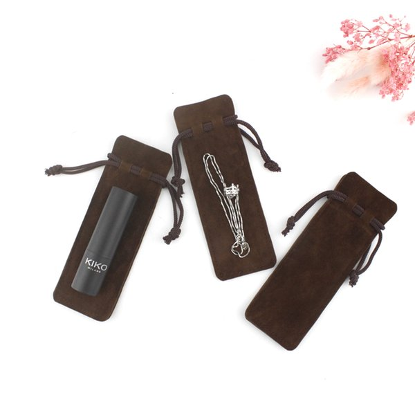 50 упаковке кофе мешок drawstring ювелирных изделий бархата байковые кармана зубочистку духи помада мешок