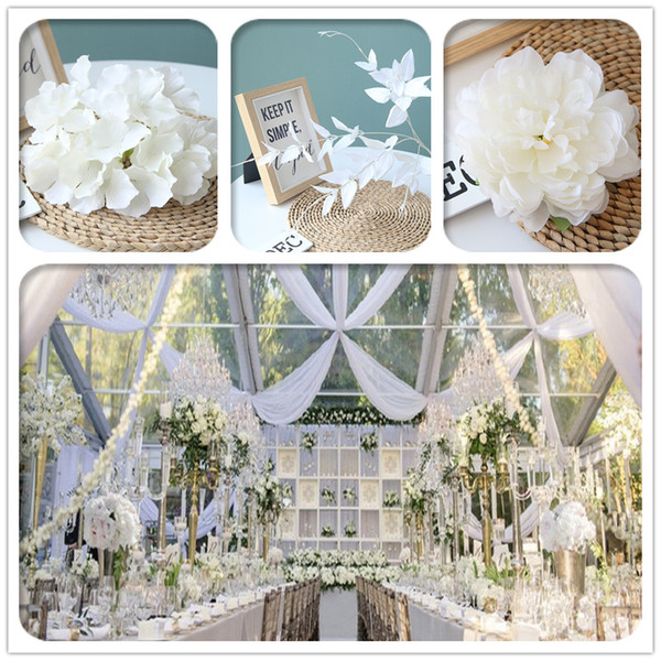 White Color Artificial Flower Wedding Rose Peony Hydrangea Plant Bridal Bouquet Wedding Decoration DIY Home Party Fake Flowers