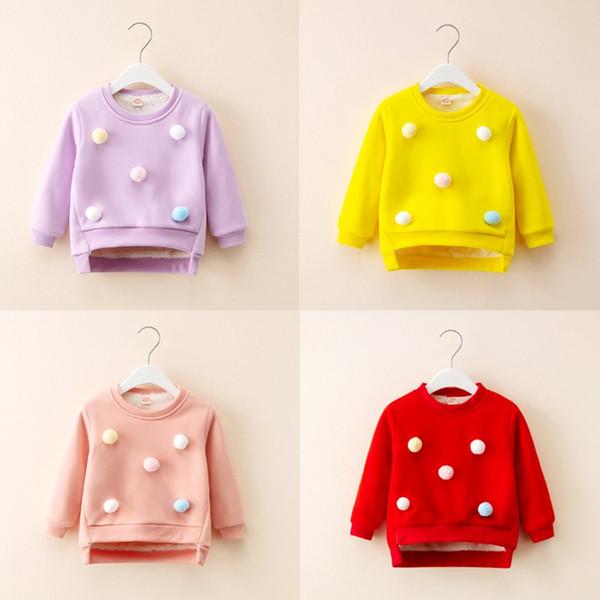 2018 Inverno Quente Bebés Meninas camisa de suor Crianças Velo Casacos Crianças Tops Meninas Camisolas espessamento Meninos Roupa 5 cores