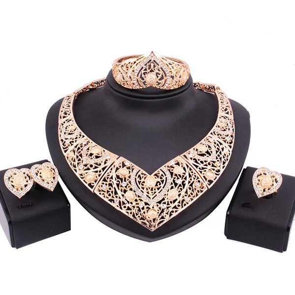 Shinning Gold Color Jewelry 4 Pieces Sets Necklace Earrings Rings Bracelet Bridal Jewelry Bridal Accessories Wedding Jewelry T301436