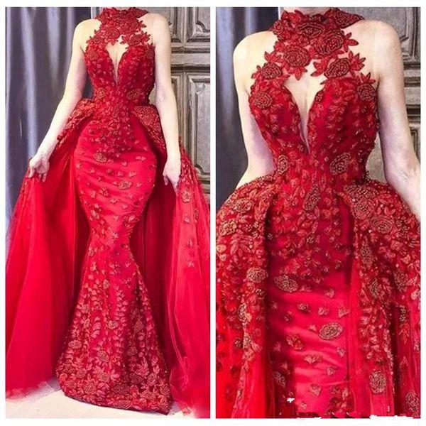 Dubaï rouge robes de soirée sirène col haut dentelle appliques perles dames robes de bal plus robe de soirée taille robes sur mesure de soirée