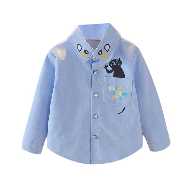 1 Pcs Children Kids Shirt Cat Pattern Cute Long Sleeve Front Buttons Fashion Clothing 998