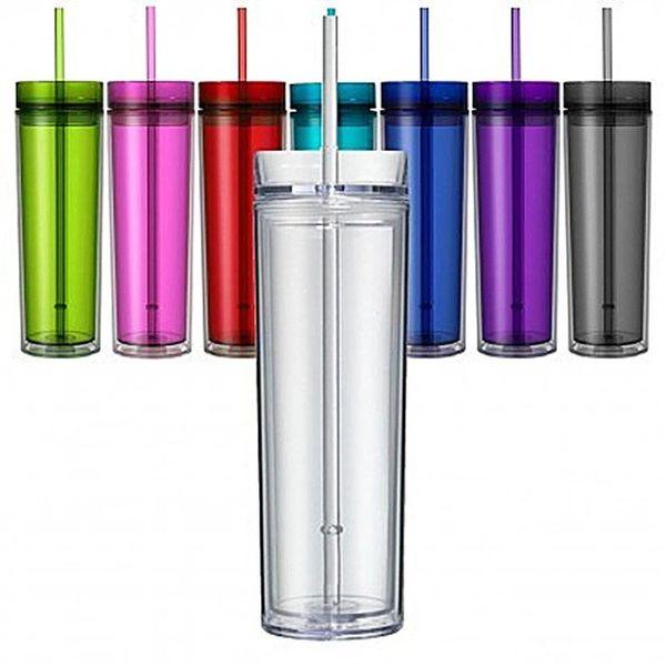 16oz dünner Acrylbecher mit Deckel und Strohhalm 480 ml doppelwandiger durchsichtiger Plastikbecher BPA-frei 16oz gerade Wasserflasche Acrylreisebecher