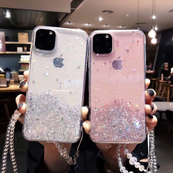 Glitter Bling lantejoulas para o iPhone 11 11Pro Max Shining Star Transparência Telefone caso capa macia