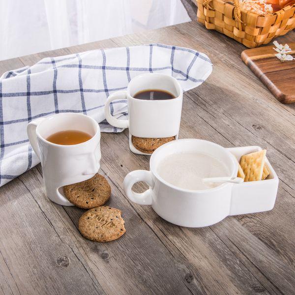 Coupes Biscuit céramique Tasse en céramique Tasse à café Creative Café Biscuits lait Dessert tasses de thé Bas stockage Tasses 4styles GGA2603