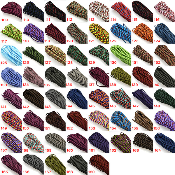 top popular 1pcs 100FT 550 Paracord Parachute Cord Lanyard Mil Spec Type III 7 Strand Core For Climbing Camping Buckles Bracelet 109-172 Colors 2021