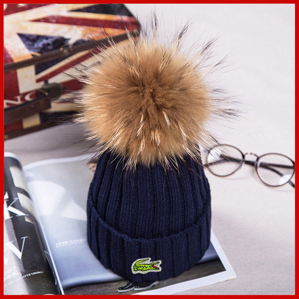noble winter knitted real fur hat women thicken beanies with real raccoon fur pompoms warm caps snapback pompon beanie hats