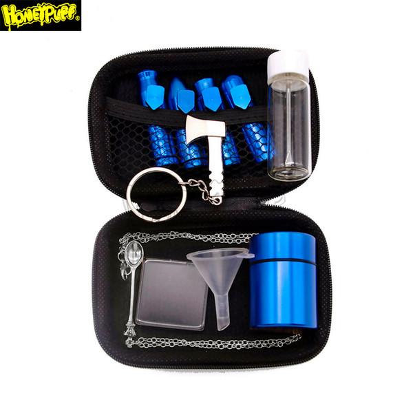 Tabac Snuff Ronfler Kit aluminium Snuff Ronfler Sniff Distributeur nasal métal Conteneur Pot en verre Bouteille Stash pot cuillère en métal