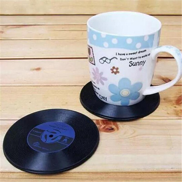 Promotion!!! 1000pcs Drinks Retro CD Vinyl Record Coffe Tea Drinking Coasters Anti-Heat Cup Mat Novelty Gift a218-a225