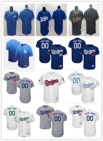costume Los Angeles homens mulheres juventude Majestic LA Dodgers Jersey # 00 Seu nome e seu número Azul Cinza Branco Kids Girls Baseball Jerseys
