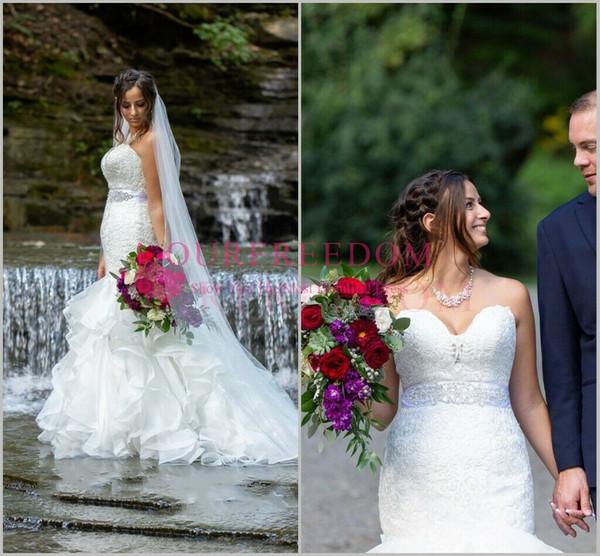 2019 Mermaid Wedding Gowns Ruffles Sweetheart Crystal Beaded Lace Appliques Corset Back Bridal Dresses Train Custom Made Hot Sale