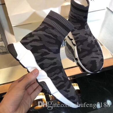 Moda 2019 Kış Oreo Orta-Uzun Streç Sneaker Erkek Kadın Outsoor Rahat Ayakkabılar Sıcak Çorap Ayakkabı Kamuflaj Çizmeler 35 ~ 45