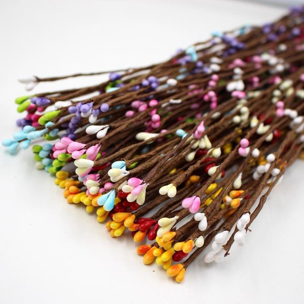 100pcs 40cm Artificial Flowers Berry Stem for Canes Bracelet Crown Floral Arrangement Crafts Wedding Decoration Material DIY Wreath