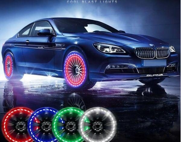 15 Modus Solarenergie LED Auto Auto Flash Rad Reifen Ventilkappe Neon DRL Tagfahrlicht Lampe Autozubehör Räder Lampe KKA4537