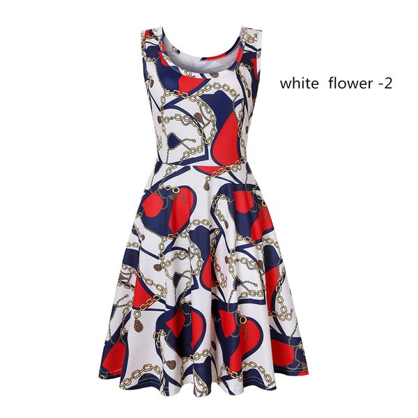 Spot women's printing summer round neck sleeveless big swing fashion explosions dress long skirt s-XXL wholesale and retail