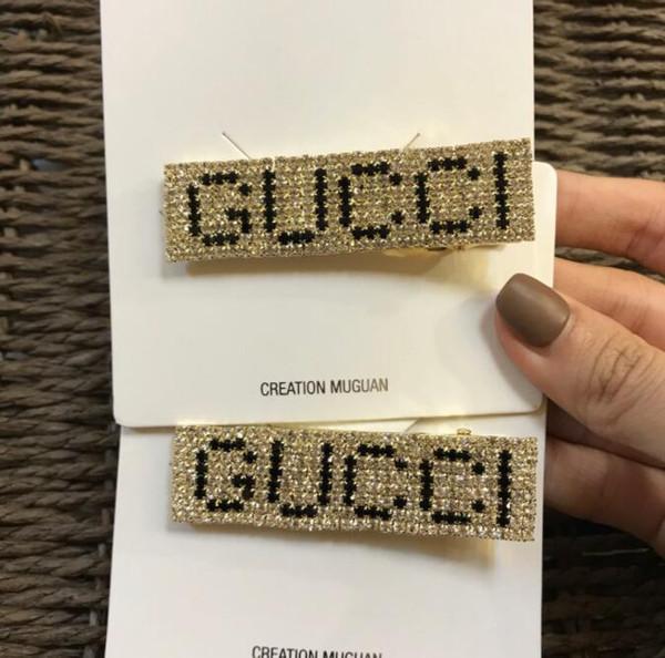 19 heiße neue Produkte Südkorea Dongdaemun Buchstaben voller Diamanten Metall handgemachte europäische und amerikanische Seite Clips Haarnadel Pony Clip