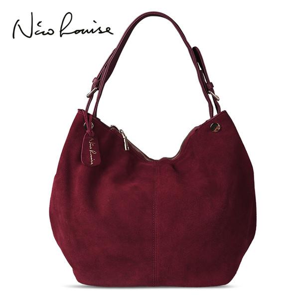 Nico Louise Women Genuine Suede Leather Hobo Bag New Design Female Leisure Large Shoulder Bags Shopping Casual Handbag Sac Purse J190616