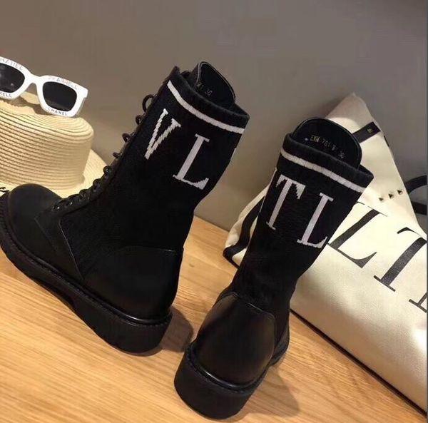 2019 cargadores cortos, estilo locomotora, calcetines, botas, tela, capa superior, cuero, revestimiento interior, zapatillas de deporte de piel de ovejaValentinoq1