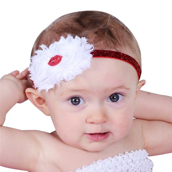 Baby Headbands Flower hairbands Kids Girls Elastic red lip headdress Children Princess Shiny Glitter Headwear Kids hair accessories KHA656