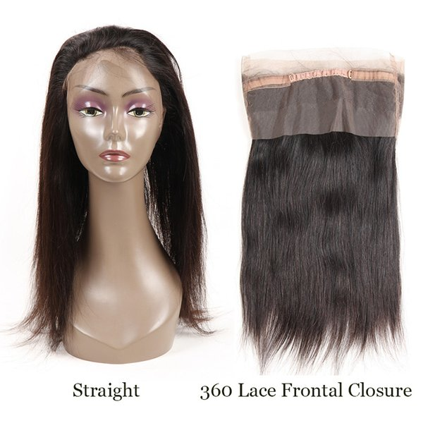 Brazilian Remy Hair Straight 360 Lace Frontal Closure With Baby Hair 100% Human Hair Free Part Straight 360 Lace Frontal Closure