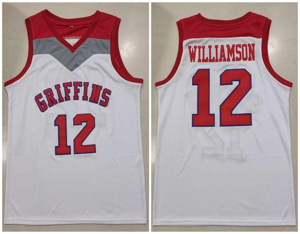 Spartanburg Griffins Day High School # 12 Zion Williamson White Retro Basketball Jersey Uomo cucito personalizzato Qualsiasi numero Nome maglie