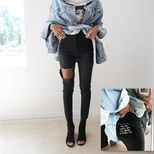 Latest fashion new printing letter jeans for school girls high waist skinny legs for teens hole at thigh unique denim pants