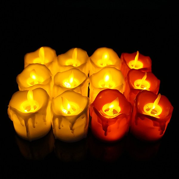 LED Flameless Candle Tea Light Pilastro Candela Tealight Battery Operate Candle Lamp Wedding Birthday Party Decorazioni di Natale DBC VT1722
