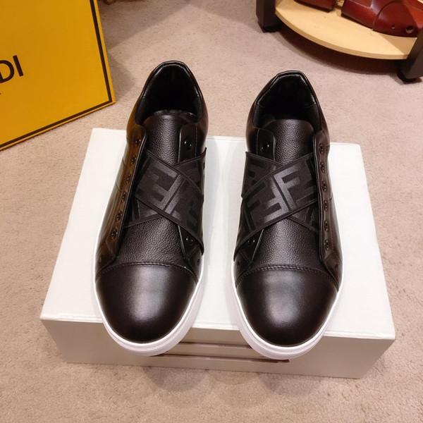 Zapatos casuales de cuero para hombre de diseñador de lujo 2019o, zapatos deportivos salvajes de alta calidad para hombres, paquete original de la caja
