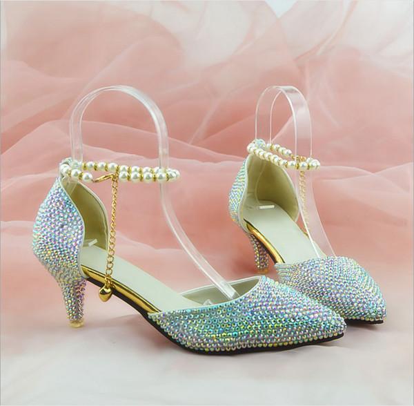 Shining Glitz Kristal Düğün Ayakkabı Sivri Burun Toka Askı Kadınlar Moda Parti Akşam Balo Ayakkabı Custom Made Taobao