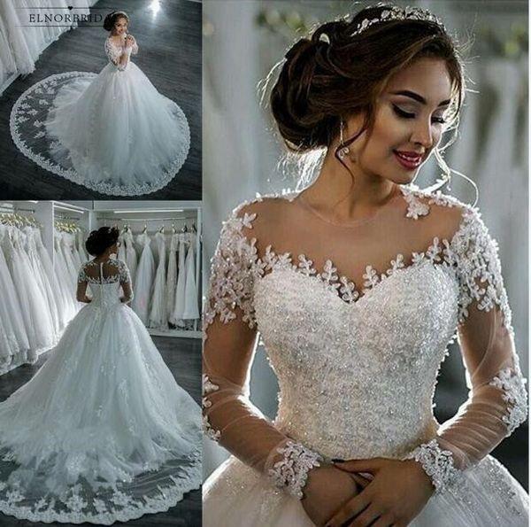 Vintage Ball Gown Wedding Dresses 2019 Long Sleeved Robe De Mariage Sheer Bridal Dress Brautkleid Online Shop Wedding Dress