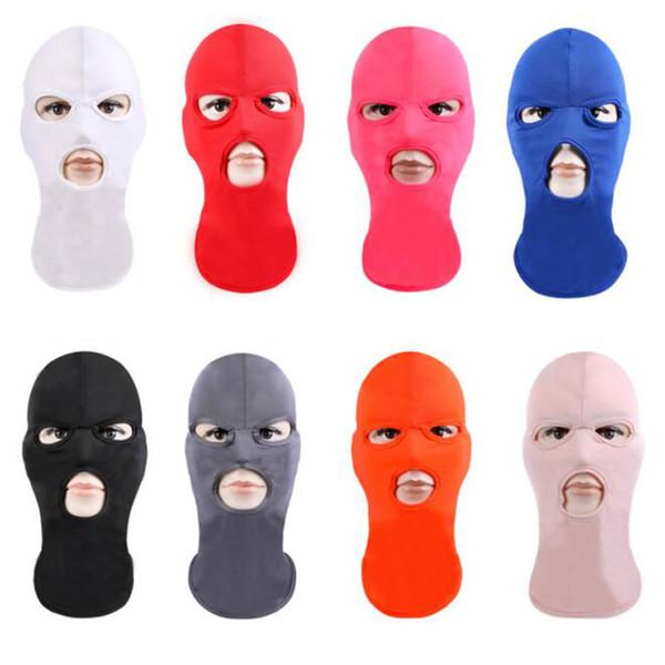 Máscara de cubierta facial completa Tres gorro de punto de 3 agujeros Máscara de estiramiento de invierno Máscaras térmicas de esquí térmico