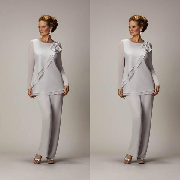 Hot Sales 2019 Silver Mother of The Groom Dress Jewlel Neck Long Sleeve Hand-made Flower Mother of The Bride Pant Suits