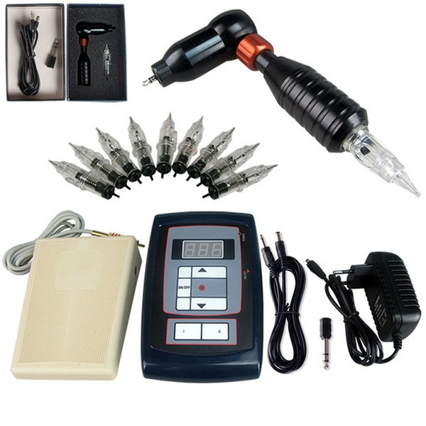 Permanent Makeup Cosmetics Tattoo Set With 1 Rotary Tattoo Machine Pen Complete Kit With Needles Kits Tattoo Lightweight Tattoo Machines From