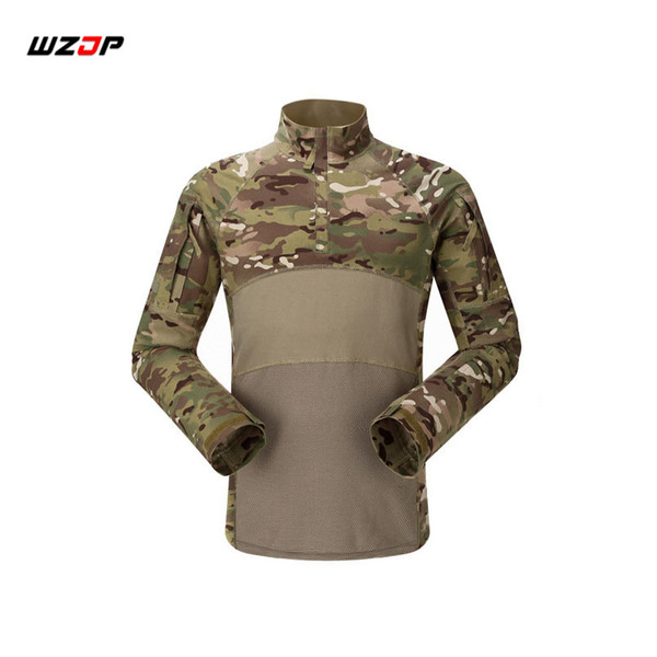 WZJP Outdoor Camouflage Army T-Shirt Men RU Soldiers Combat Tactical T Shirt Force Multicam Camo Long Sleeve Shirts