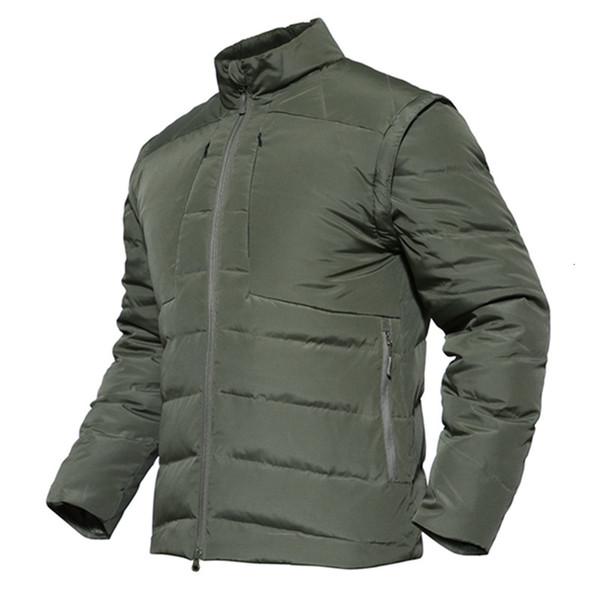 Anatra bianca giù ricoprono il rivestimento degli uomini maniche staccabili inverno Ultralight Down Jacket tuta sportiva casuale Neve militare cappotto caldo parka SH190930