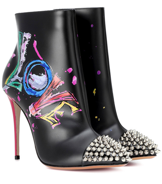 Painted Metal Trim Stiletto Pointed Single Boot Graffiti Leather Rivets Ankle Boots color Matching Letters Street Shooting Best-Selling Sexy