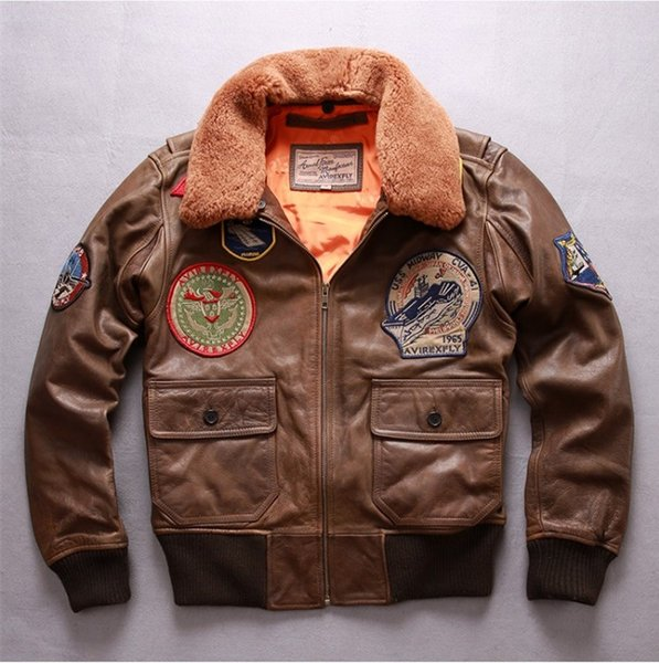 stable quality 100% quality unique design 2019 G1 Flight Bomber Jackets Brown AVIREXFLY Genuine Leather Jackets World  War II Classic Flight Suit From Qltrade_2, $258.89 | DHgate.Com